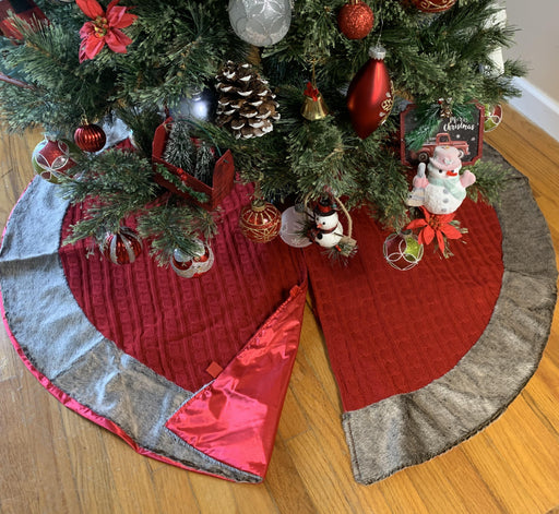 "Christmas Tree Skirt Red Knit - Large 48"" Diameter"