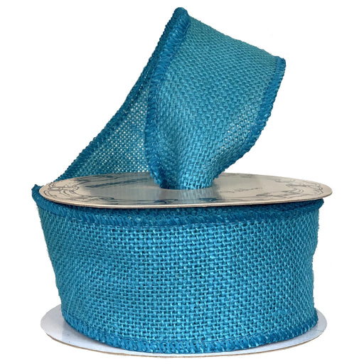 "Turquoise Blue  Fabric Burlap Woven Ribbon - 2 1/2"" x 10 Yards"