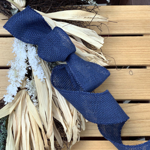 "Navy Blue  Fabric Burlap Woven Ribbon - 2 1/2"" x 10 Yards"