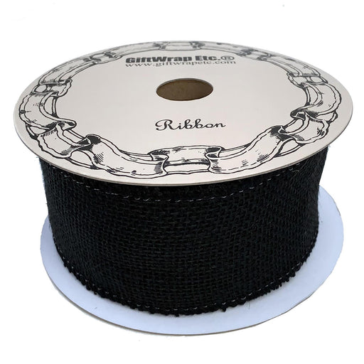 "Black Fabric Burlap Woven Ribbon - 2 1/2"" x 10 Yards"