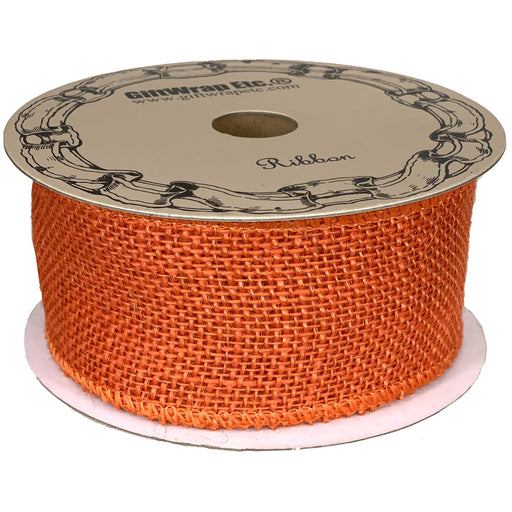"Orange Fabric Burlap Woven Ribbon - 2 1/2"" x 10 Yards"