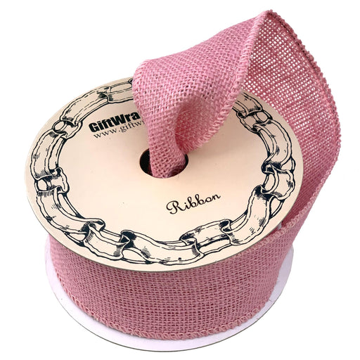 "Light Pink Fabric Burlap Ribbon - 2 1/2"" x 10 Yards"