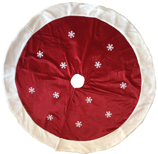 "White Snowflakes Christmas Tree Skirt - Large 48"" Diameter"