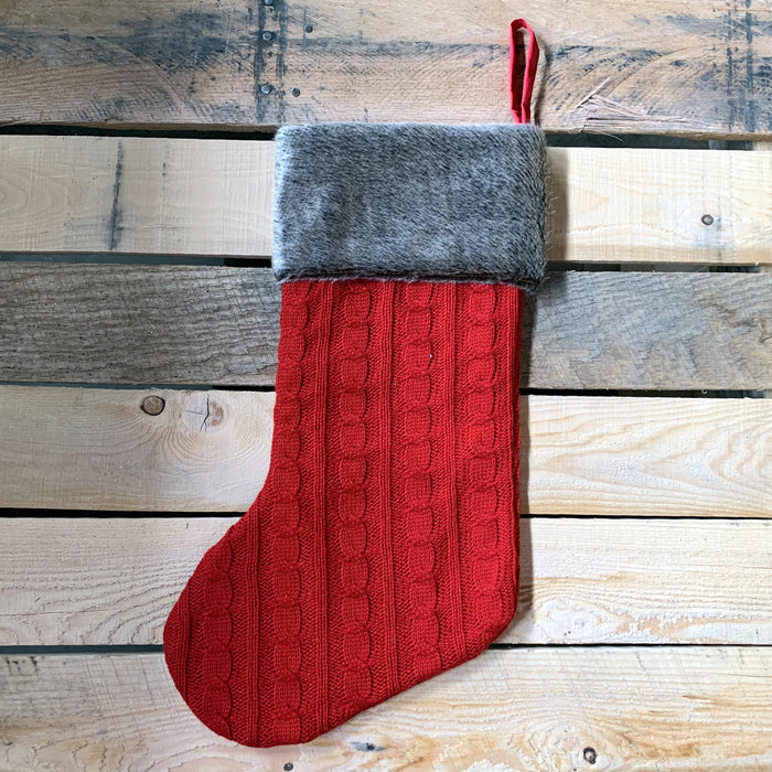"Red Cable Knit Christmas Stocking - 20"" H, 8"" W, Brown Faux Fur Boot Cuff"