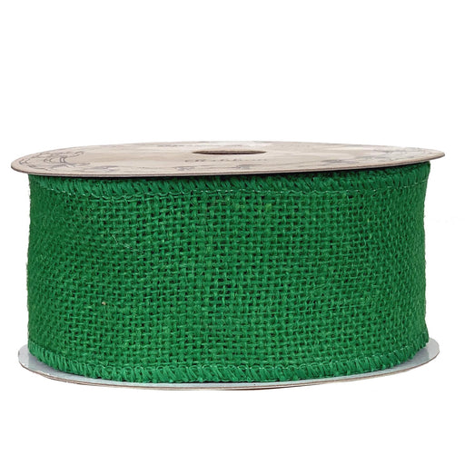 "Emerald Green Fabric Burlap Ribbon - 2 1/2"" x 10 Yards"