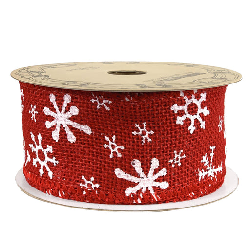 "White Snowflakes Wired Christmas Ribbon - 2 1/2"" x 10 Yards"