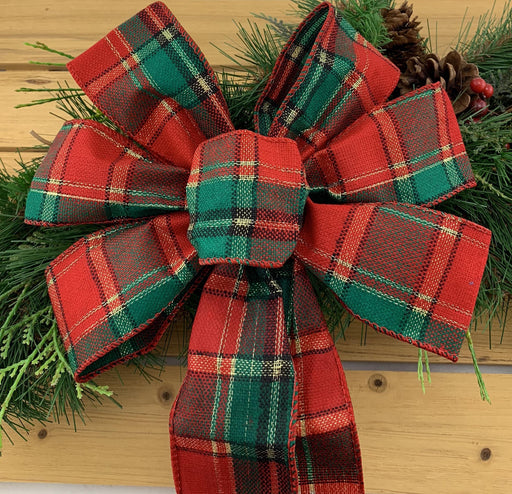 "Tartan Wired Christmas Tree Ribbon - 2 1/2"" x 10 Yards"