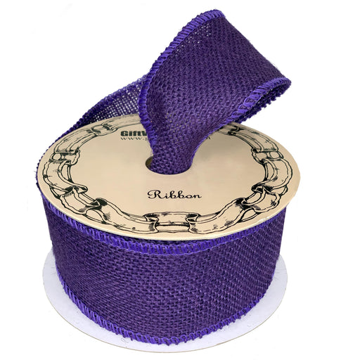 "Purple Fabric Burlap Woven Ribbon - 2 1/2"" x 10 Yards"