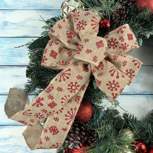 "Red Snowflake Christmas Wreath Bow - 10"" Wide, 18"" Long Tails"