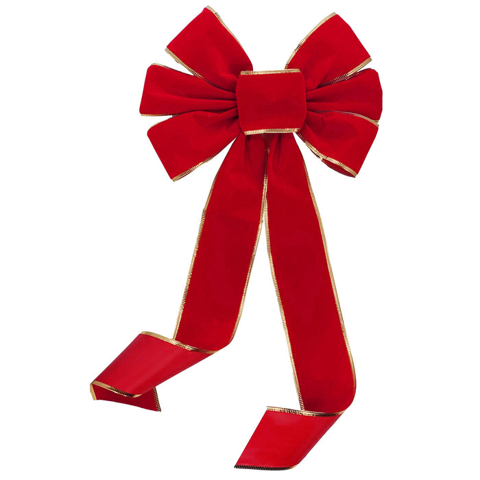 "Red Velvet Gold Edge Bow - 10"" Wide, 18"" Long Tails SuccessActive"