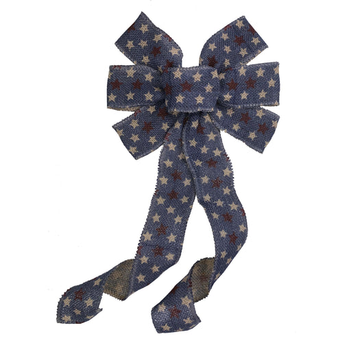 "Navy Blue Burlap Patriotic Bow - 10"" Wide, 18"" Long Tails"