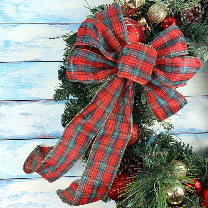 "Red Black Tartan Christmas Bow - 10"" Wide, 18"" Long"