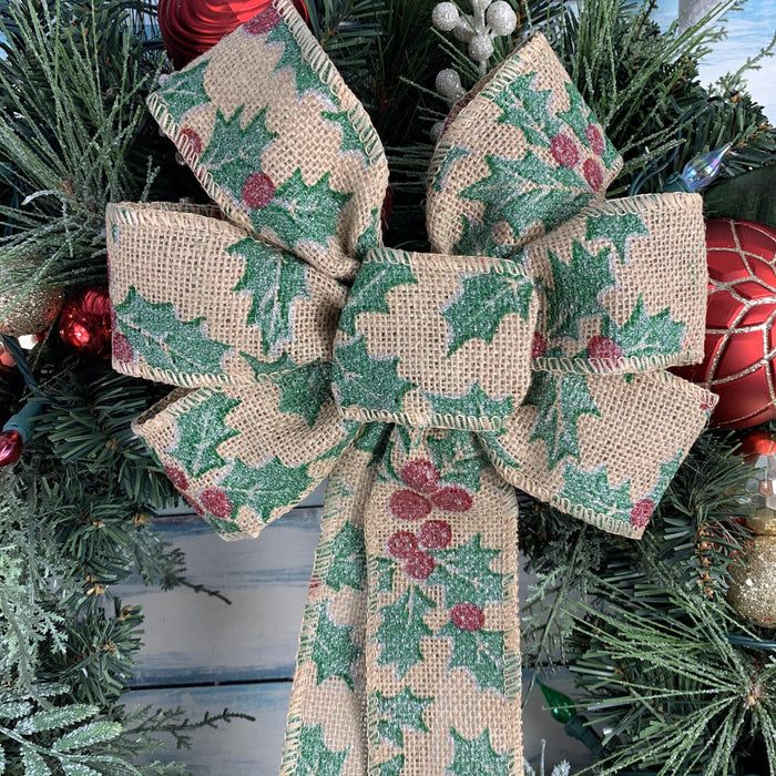 "Holly Mistletoe Christmas Wreath Bow - 10"" Wide, 18"" Long Tails"