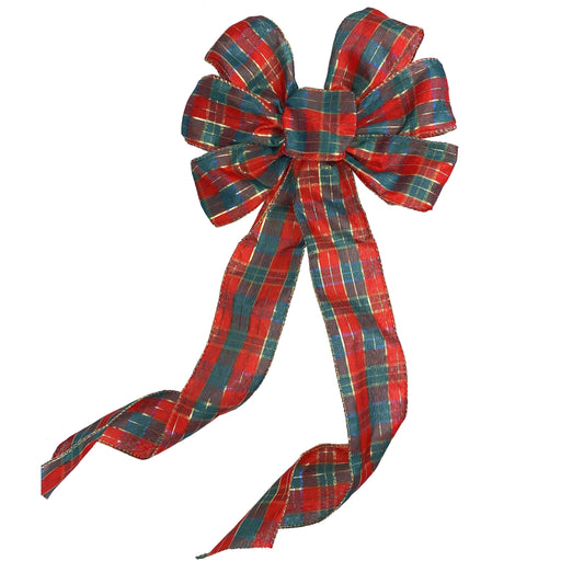 "Red Gold Plaid Christmas Bow - 10"" Wide, 18"" Long"