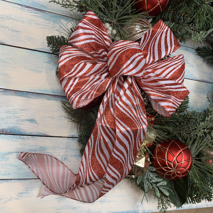 "Candy Cane Stripes Christmas Bow - 10"" Wide, 18"" Long"