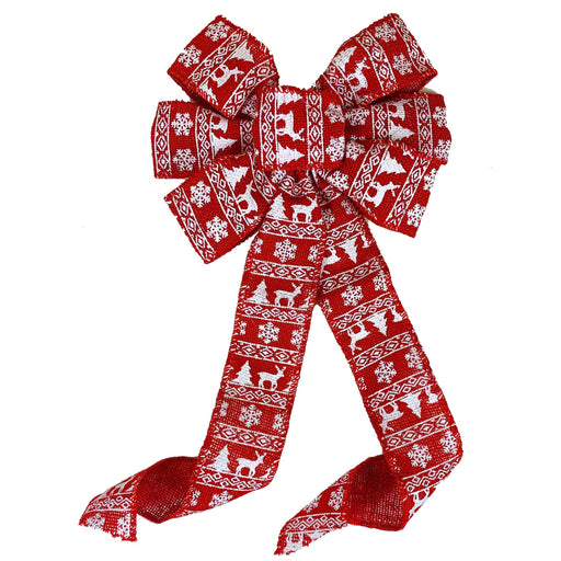"Red Fair Isle Christmas Bow - 10"" Wide, 18"" Long"