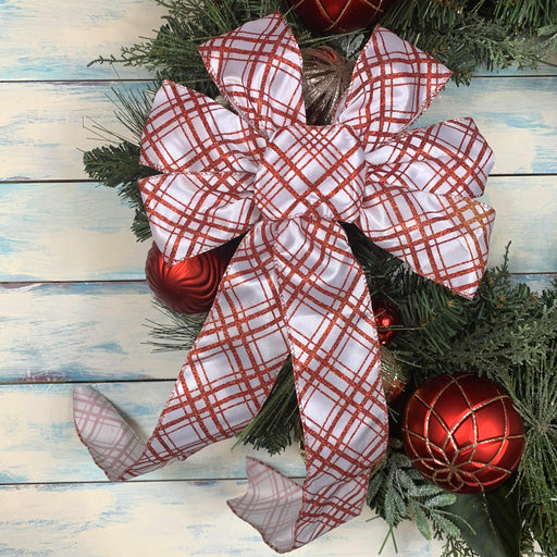 "White Red Plaid Christmas Bow - 10"" Wide, 18"" Long"
