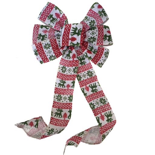 "White Fair Isle Christmas Bow - 10"" Wide, 18"" Long"