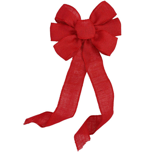 "Red Burlap Ribbon Wreath Bow - 10"" Wide, 18"" Long Tails"