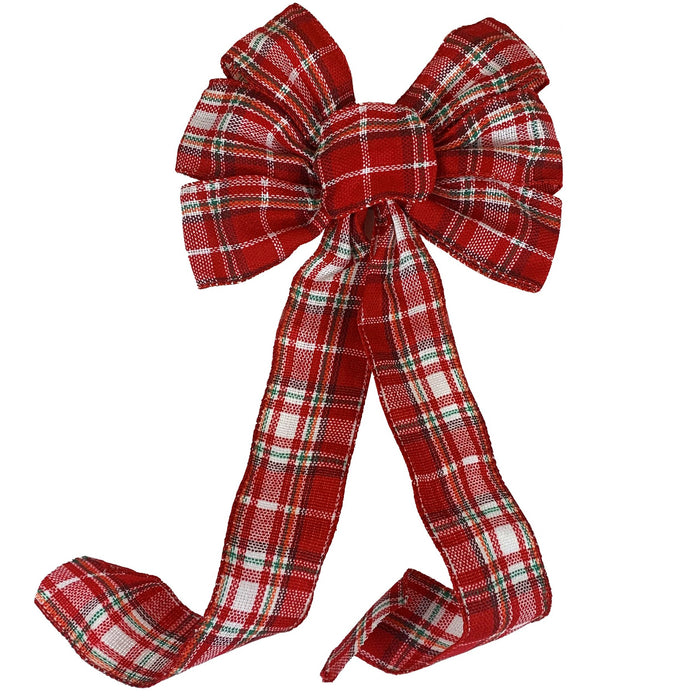 "Red White Tartan Christmas Bow - 10"" Wide, 18"" Long"