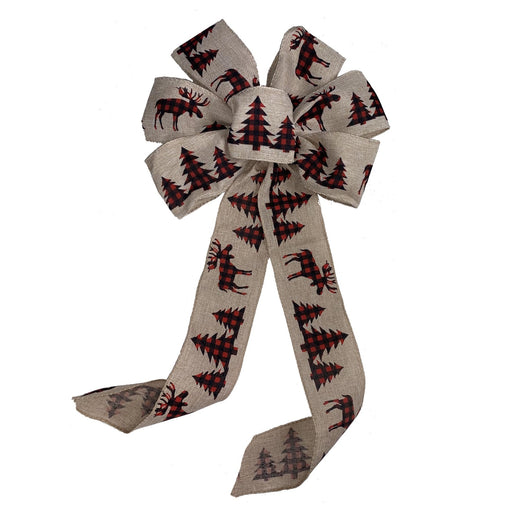 "Moose Plaid Christmas Tree Bow - 10"" Wide, 18"" Long"
