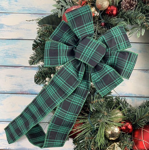 "Green Black Plaid Christmas Bow - 10"" Wide, 18"" Long"
