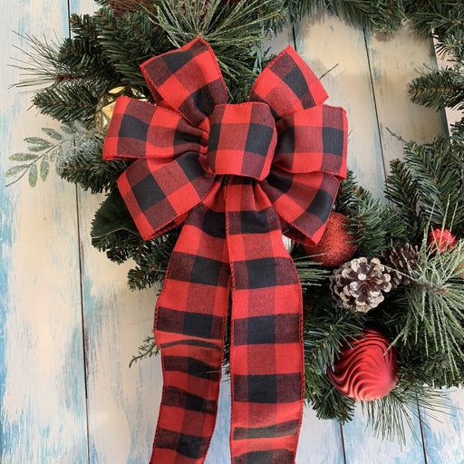 "Buffalo Plaid Christmas Wreath Bow - 10"" Wide, 18"" Long"