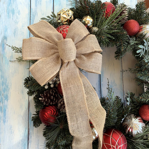 "Natural Burlap Ribbon Wreath Bow - 10"" Wide, 18"" Long Tails"