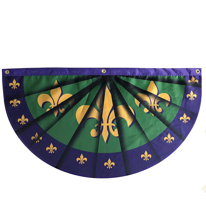 "Fleur-de-lis Mardi Gras Bunting Flag – 18"" x 36"", Purple, Green, Gold"