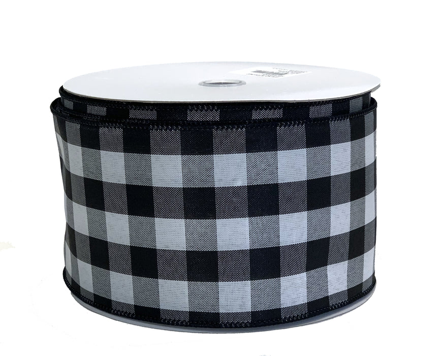 "Buffalo Check Black White Ribbon - 4"" x 50 Yards"