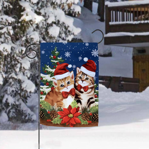 "Christmas Kittens Winter Garden Flag - 12"" x 18"""