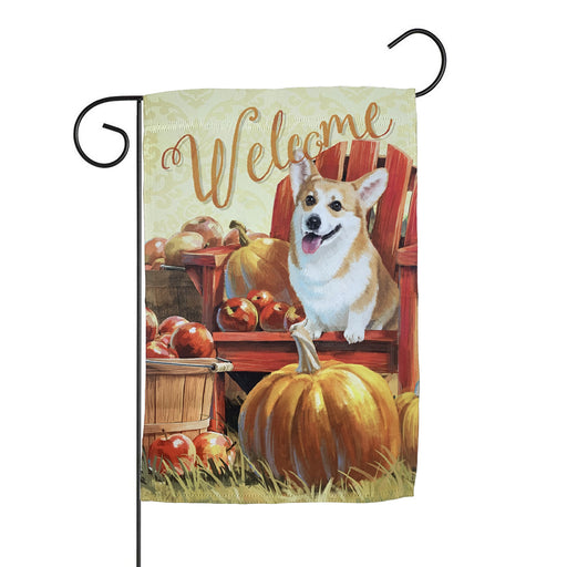 "Corgi Fall Welcome Garden Flag – 12""x18"""