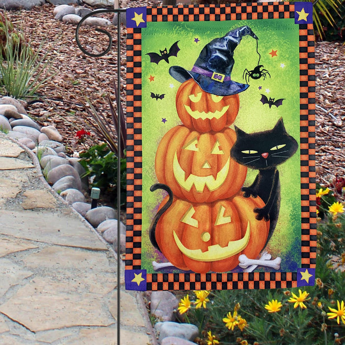 "Black Cat Pumpkins Halloween Garden Flag - 12""x18"""