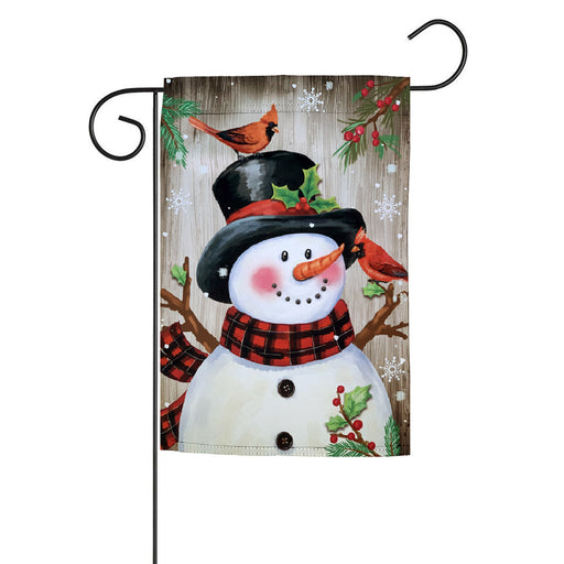 "Frosty & Cardinals Christmas Garden Flag - 12"" x 18"""