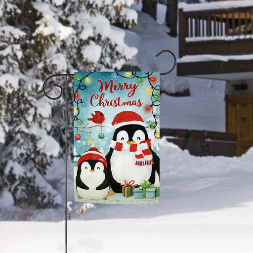 "Penguins Merry Christmas Garden Flag - 12"" x 18"","