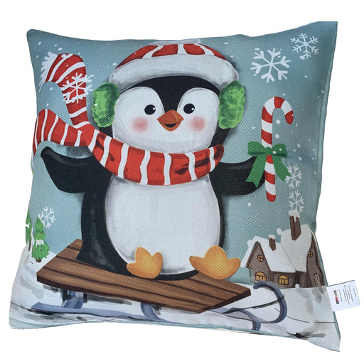 "Sledding Penguin Christmas Pillow Cover - 18"" x 18"", Penguin Pillowcase"