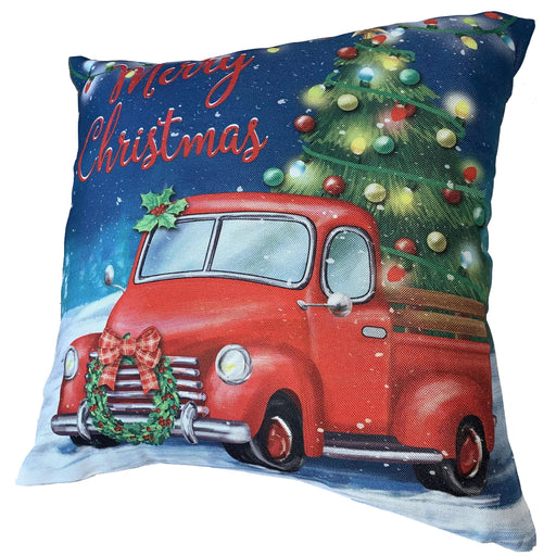 "Christmas Tree Truck Pillow Cover - 18"" x 18"", Red Pick Up Truck Pillowcase"