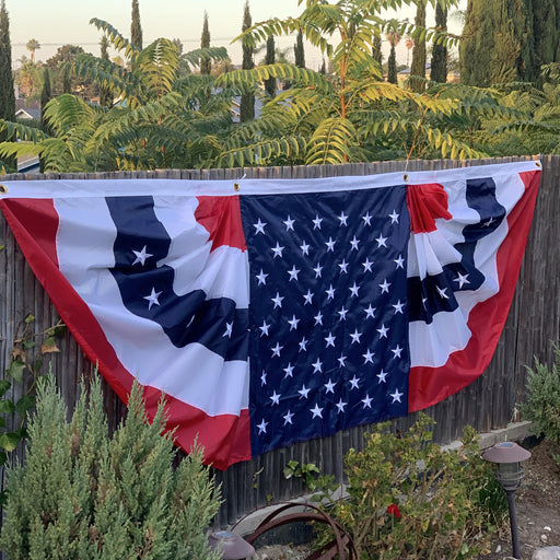 Patriotic Bunting Banner American Flag - 3' x 9' Pleated Fan Flag