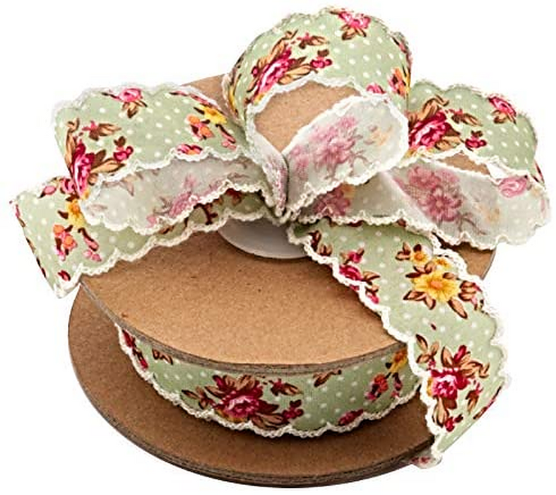 "Vintage Floral Shabby Chic Ribbon - 1"" x 10 Yards"