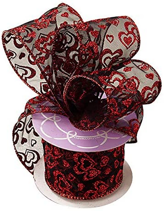 "Valentine Glitter Hearts Sheer Ribbon – 2 1/2"" x 10 Yards, Metallic Red Glitter Hearts on Sheer Black Wired Ribbon, Valentine's Décor, Gift Wrap, Hair Bow, I Love You, Gift Bow, Bouquet"
