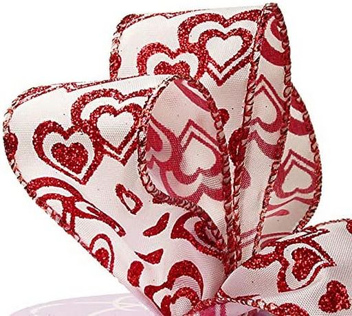 "Valentine's Day Hearts Wired Ribbon – 2 1/2"" x 10 Yards"