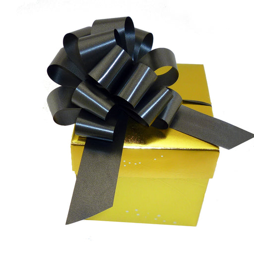 "Black Decorative Gift Pull Bows - 5"" Wide, Set of 10"