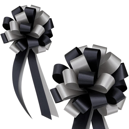 "Black and Silver Pull Bows - 8"" Wide, Set of 6"