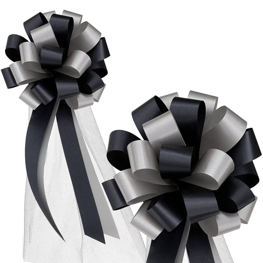 black-silver-pull-pew-bows-tulle