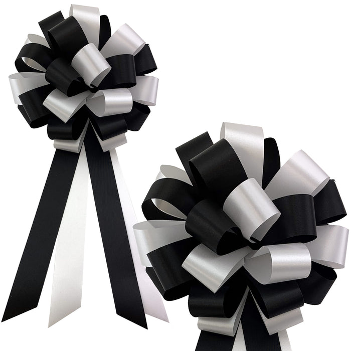 "Black and White Pull Bows - 8"" Wide, Set of 6, Wedding Pew Decorations"