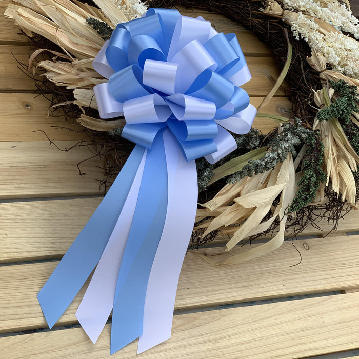 "Light Blue and White Pull Bows - 8"" Wide, Set of 6,"
