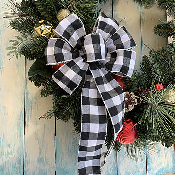 black-white-buffalo-plaid-bows