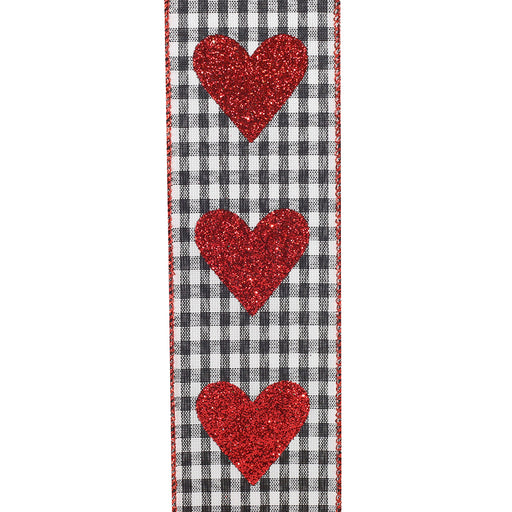 "Buffalo Plaid Glitter Hearts Ribbon – 2 1/2"" x 10 Yards"