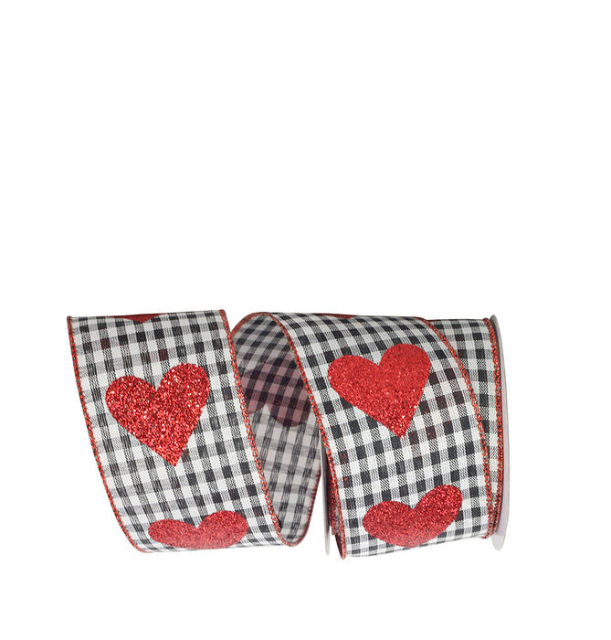 "Buffalo Plaid Glitter Hearts Ribbon – 2 1/2"" x 10 Yards, White & Black Checks, Red Glitter Heart on Wired Ribbon, Valentine's Day Décor, I Love You, Gift Bow, Bouquet"