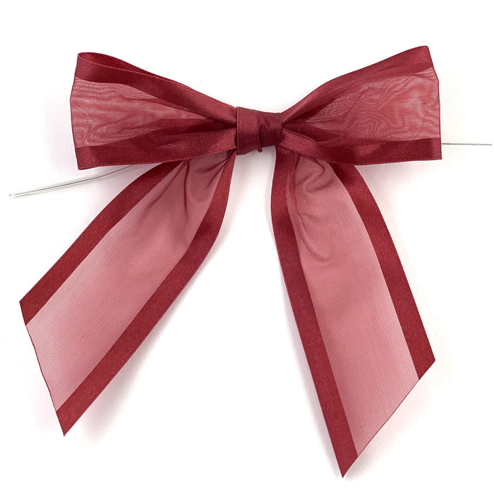 "Pre-Tied Burgundy Organza Bows - 4"" Wide, Set of 12"